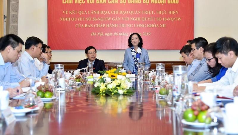 Đoàn kiểm tra của Bộ Chính trị làm việc với Ban cán sự Đảng Bộ Ngoại giao