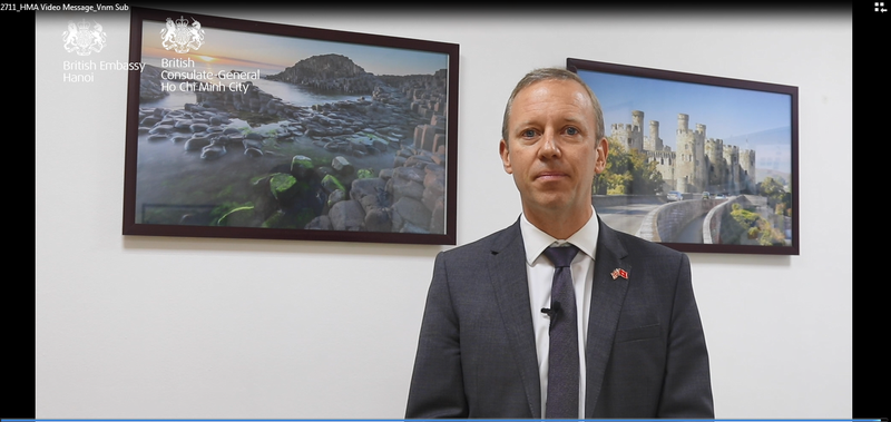 Đại sứ Anh tại Việt Nam Gareth Ward. Ảnh chụp màn hình.