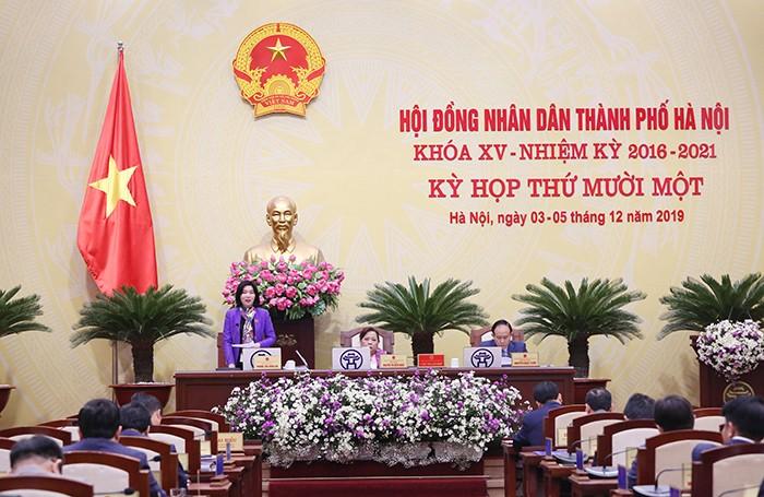 Hình ảnh tại phiên họp. Ảnh: Cổng TTĐT Hà Nội.
