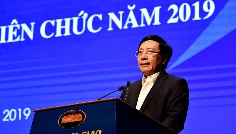 Phó Thủ tướng Chính phủ, Bộ trưởng Ngoại giao Phạm Bình Minh phát biểu tại Hội nghị. Ảnh: BNG