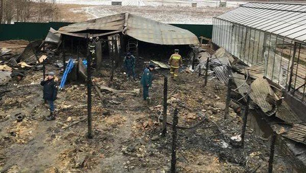 Các nhân viên thuộc Bộ Khẩn cấp Nga đang điều tra hiện trường vụ cháy nông trại nhà kính ở vùng ngoại ô Moscow, Nga ngày 7/1. Ảnh: AP