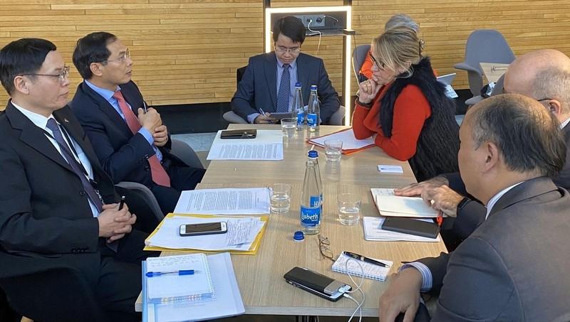 Thứ trưởng Thường trực Bộ Ngoại giao Bùi Thanh Sơn trao đổi với  các Nghị sỹ EU.