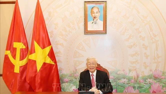 Tổng Bí thư, Chủ tịch nước Nguyễn Phú Trọng điện đàm với Tổng thống Nga Vladimir Putin. Ảnh:TTX