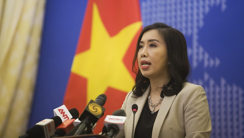 Người phát ngôn Bộ Ngoại giao Việt Nam Lê Thị Thu Hằng tại họp báo.