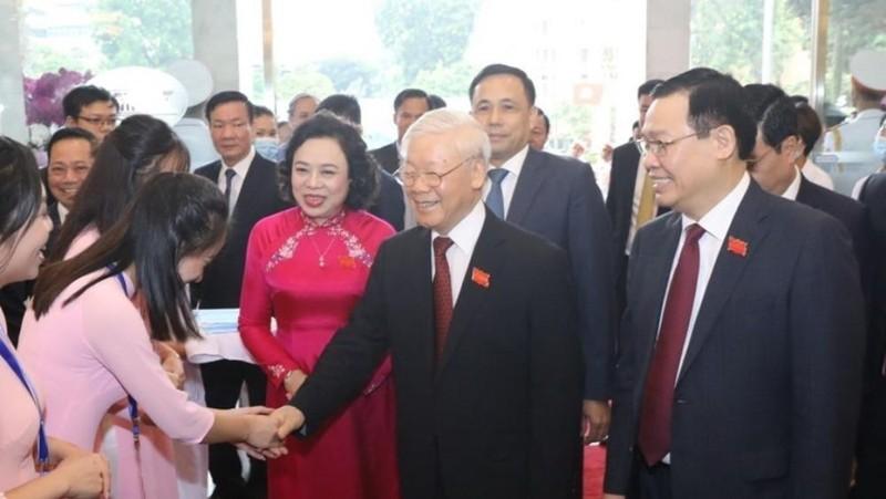 Tổng Bí thư, Chủ tịch nước Nguyễn Phú Trọng đến dự Đại hội đại biểu Đảng bộ thành phố Hà Nội lần thứ XVII. (Ảnh: Văn Điệp/TTXVN)