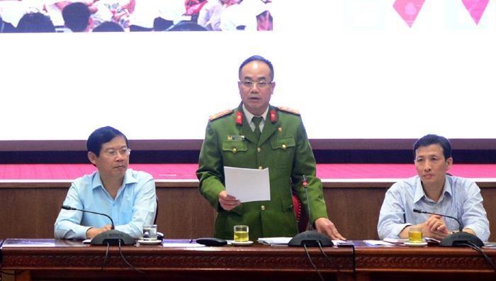 Đại tá Nguyễn Thanh Tùng - Phó Giám đốc Công an TP Hà Nội - thông tin tại hội nghị.