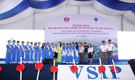 Dự án VSIP Nghệ An khởi công tháng 9/2015, với tổng đầu tư giai đoạn 1 khoảng 76,4 triệu USD.