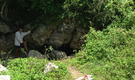 Lão nông Hồ Văn Thể chỉ đường vào hang