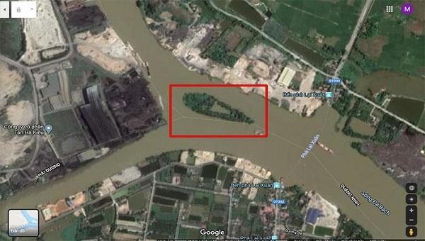 Khu vực phát hiện được 13 chiếc cọc gỗ tại xã Lại Xuân, huyện Thủy Nguyên