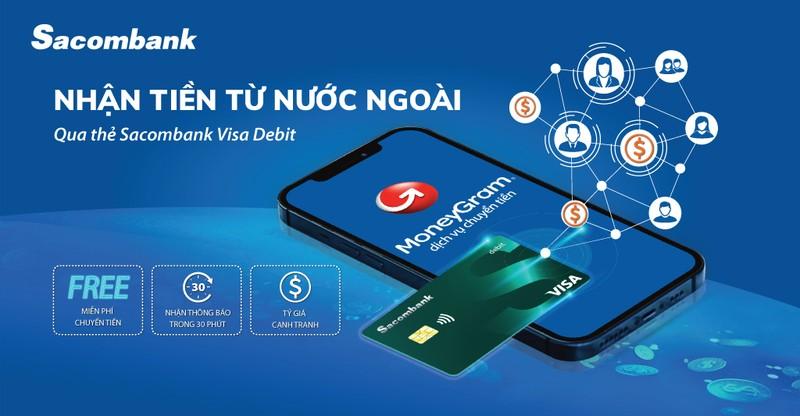 Nhận tiền từ nước ngoài bằng thẻ Sacombank Visa Debit