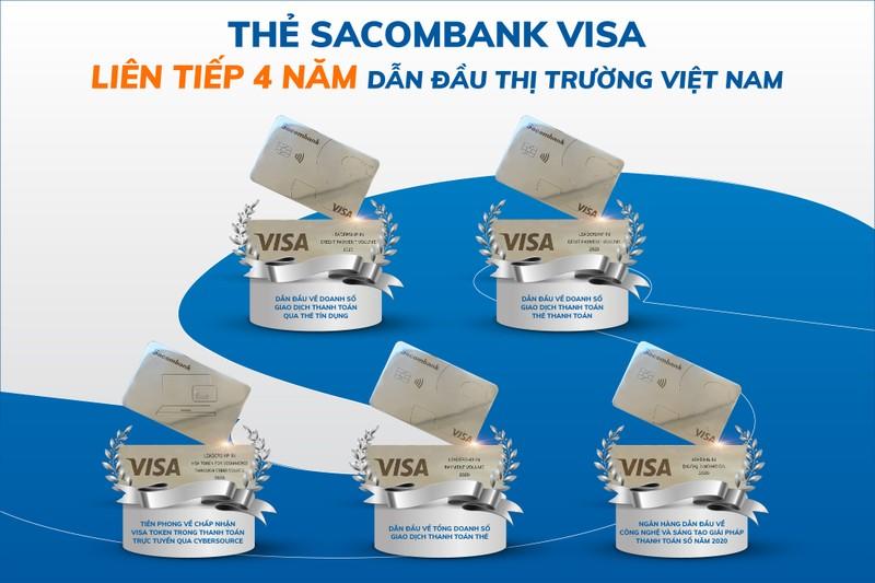 Thẻ Sacombank Visa liên tiếp 4 năm dẫn đầu thị trường Việt Nam