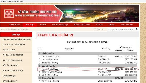 Ảnh chụp màn hình danh bạ Sở Công thương tỉnh Phú Thọ sáng 24/03 vẫn ghi số điện thoại của ông Ngọc là số trong đơn tố cáo.