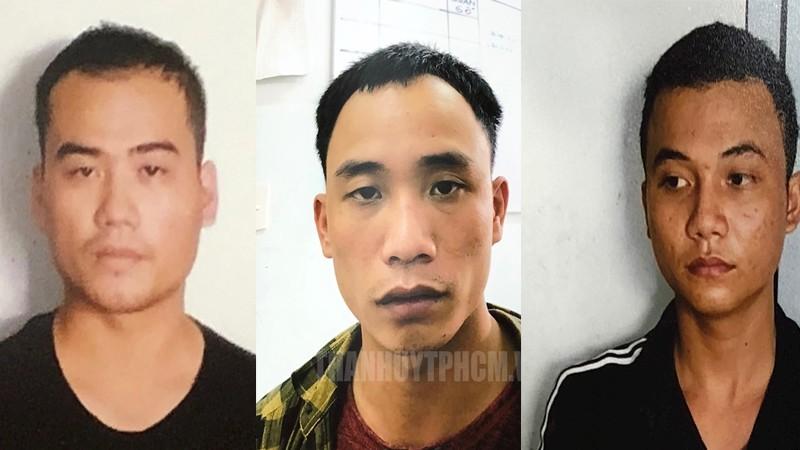 Công an bắt 3 đối tượng cướp tại cửa hàng Bách Hóa Xanh. Từ trái qua: Lê Quốc Bảo, Nguyễn Hữu Việt, Lê Văn Phú.