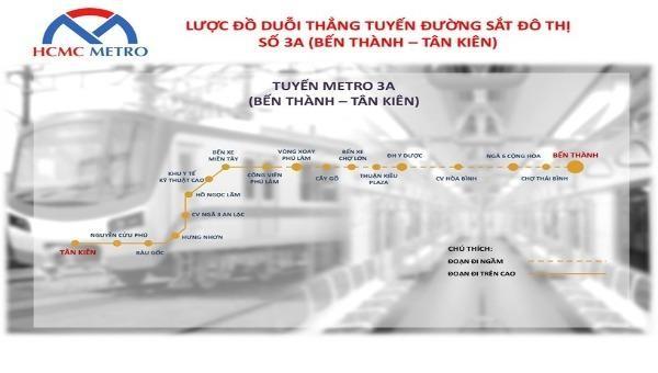 Toàn tuyến metro số 3A có 18 nhà ga, với tổng mức đầu tư dự kiến vào khoảng  68.000 tỉ đồng. Ảnh: Ban Quản lý đường sắt đô thị TP HCM