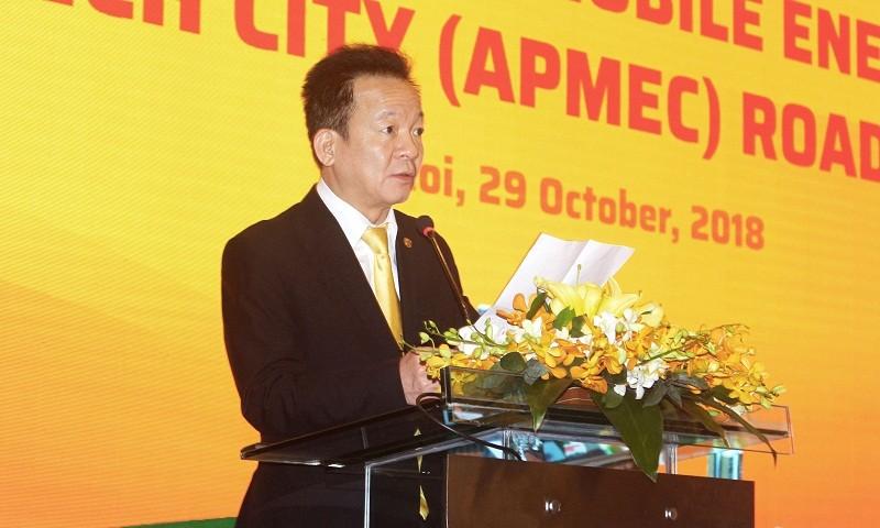Chủ tịch HĐQT kiêm Tổng Giám đốc Tập đoàn T&T Group Đỗ Quang Hiển phát biểu khai mạc Hội thảo Dự án thành phố công nghệ cao năng lượng di động Châu Á – Thái Bình Dương