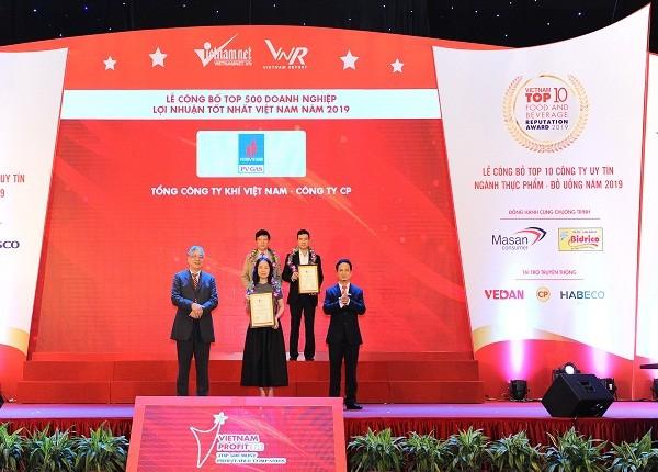 PV GAS nhận chứng nhận Top doanh nghiệp lợi nhuận tốt nhất Việt Nam – 2019