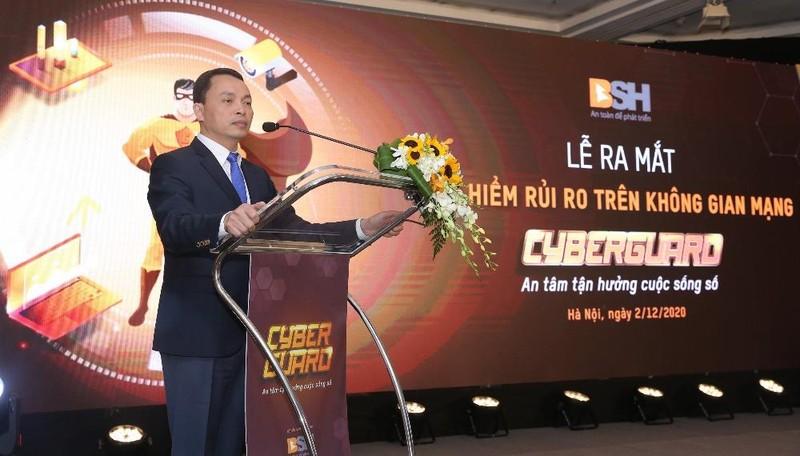Ông Bùi Trung Kiên – Tổng Giám Đốc Bảo hiểm BSH phát biểu khai mạc buổi Lễ ra mắt sản phẩm Bảo hiểm CyberGuard.