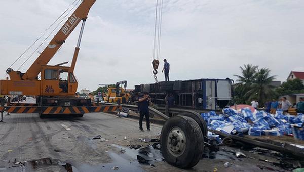 Hiện trường vụ tai nạn do Hà Văn Hoàng gây ra.