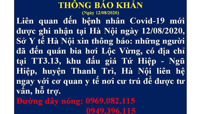 Thông báo khẩn của sở y tế Hà Nội