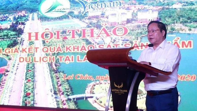 Phó Chủ tịch Thường trực UBND tỉnh Tống Thanh Hải phát biểu tại Hội thảo. Ảnh: laichau.gov.vn
