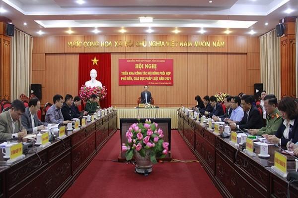 Hà Giang triển khai công tác Hội đồng phối hợp phổ biến, giáo dục pháp luật năm 2021