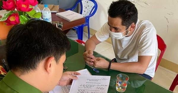 Cảnh sát kinh tế đang làm việc với đối tượng Nguyễn Thanh Tùng.