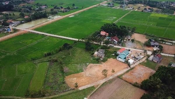 Một dự án đất nền tại huyện Cam Lộ, tỉnh Quảng Trị nhìn từ trên cao.