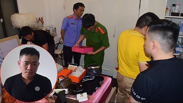 Cơ quan chức năng khám xét nhà ở các đối tượng và chân dung kẻ cầm đầu Lê Anh Tuấn (ảnh nhỏ).
