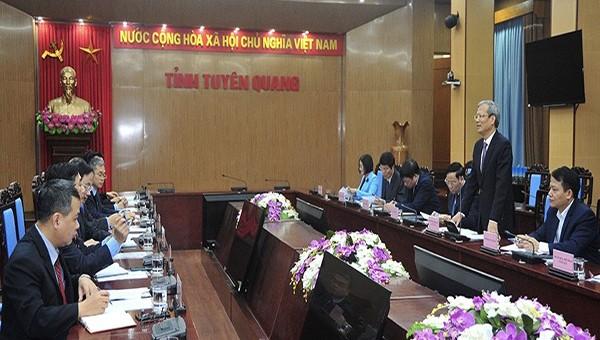 Buổi làm việc giữa lãnh đạo tỉnh Tuyên Quang và Đoàn công tác của Bộ Ngoại giao.
