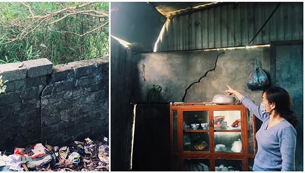 Nhà dân bị nứt do Công ty cổ phần Xi măng Vicem Sông Thao nổ mìn khai thác đá.