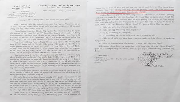 Văn bản UBND Phường Phúc Tân gửi Phòng TNMT Quận.