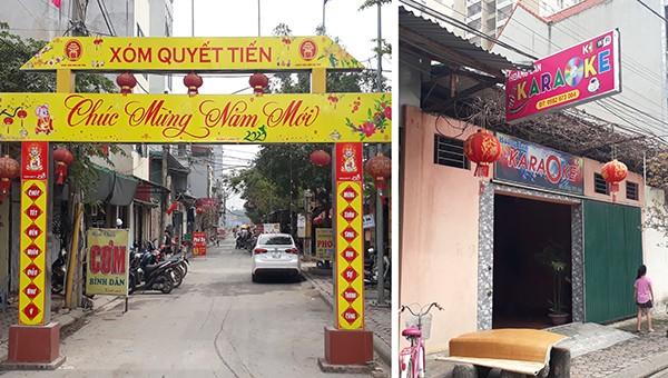 Cổng chào xóm Quyết Tiến - nơi có quán Karaoke Hoàng Lan hoạt động bất chấp qui định của TP về tạm dừng hoạt động để phòng, chống dịch Covid-19.