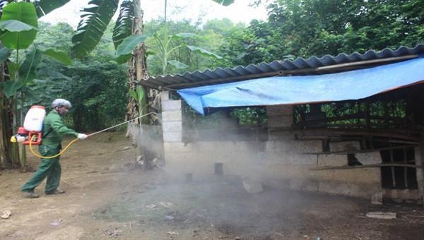 Phun thuốc khử trùng tại địa bàn dịch tả lợn châu Phi tái bùng phát ở Trùng Khánh