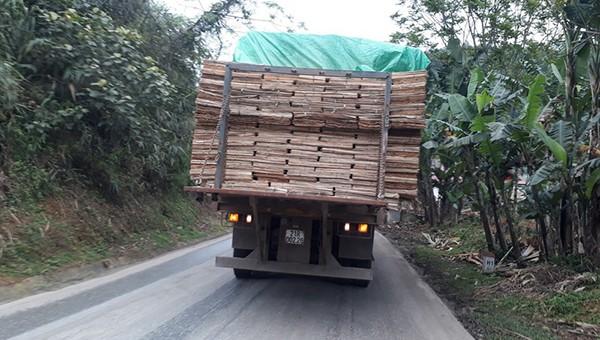 Xe tải có dấu hiệu quá khổ di chuyển trên tuyến quốc lộ 70 đoạn qua địa phận tỉnh Yên Bái.