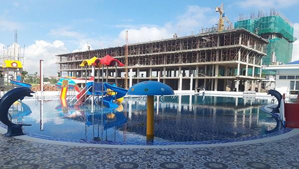 Công trình nhà ở xã hội Lan Hưng đang gấp rút hoàn thiện