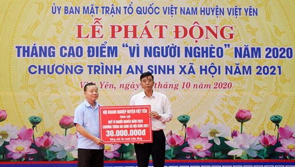 MTTQ các cấp huyện Việt Yên vận động được hơn 32 tỷ đồng gồm tiền mặt và hiện vật.