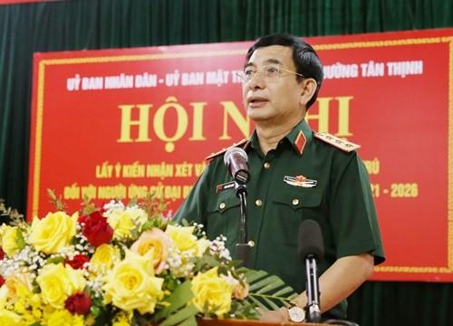 100% cử tri nhất trí giới thiệu Thượng tướng Phan Văn Giang, Ủy viên Bộ Chính trị, Bộ Trưởng Bộ Quốc phòng ứng cử ĐBQH khóa XV.