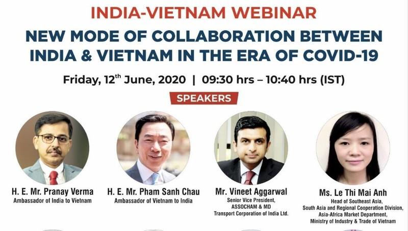 """Hội thảo trực tuyến """"Việt Nam - Ấn Độ: Mô hình hợp tác mới trong hoàn cảnh Covid 19"""" sẽ diễn ra vào ngày mai - 12/6."""