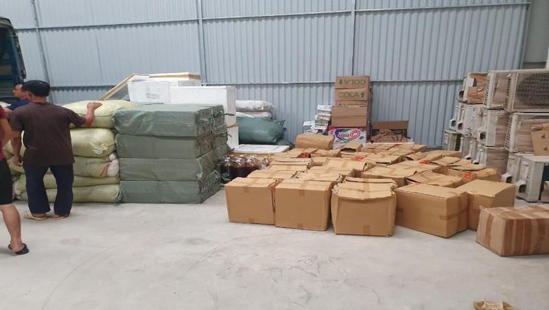 Số hàng hóa vi phạm tại kho hàng xã Hoằng Hợp, huyện Hoằng Hóa, tỉnh Thanh Hóa.