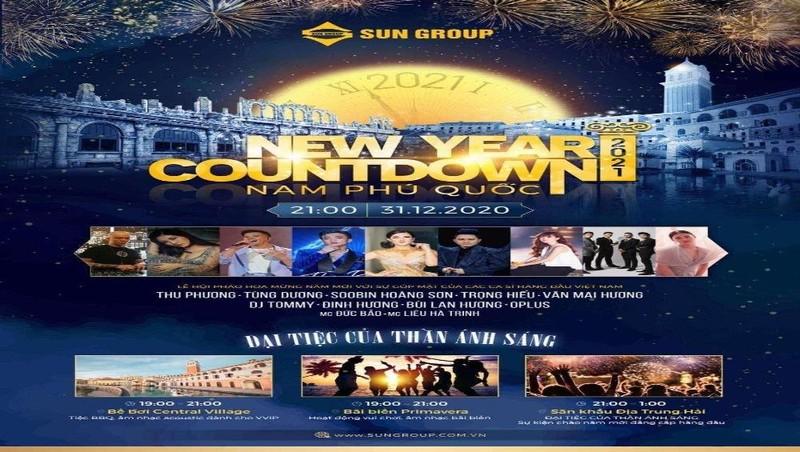 POSTER- New Year countdown 2021 Nam Phú Quốc sẽ quy tụ nhiều ngôi sao giải trí hàng đầu.