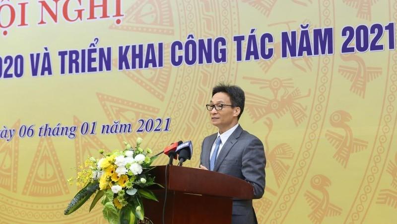Phó Thủ tướng Chính phủ - Vũ Đức Đam phát biểu, chỉ đạo tại Hội nghị tổng kết công tác năm 2020 và triển khai nhiệm vụ công tác năm 2021 của Bộ KH&CN.