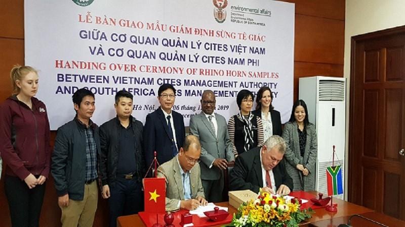 55 mẫu vật sừng tê giác được CITES Việt Nam bàn giao cho CITES Nam Phi