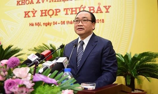 Bí thư Thành ủy Hà Nội Hoàng Trung Hải phát biểu tại Kỳ họp.