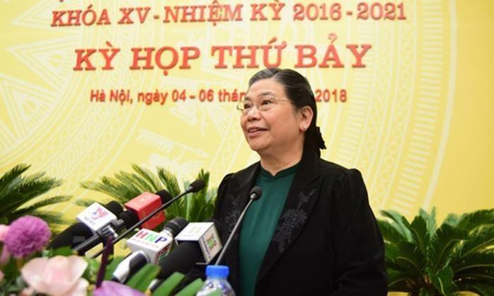 Phó Chủ tịch Thường trực Quốc hội Tòng Thị Phóng phát biểu tại Phiên khai mạc Kỳ họp thứ bảy, HĐND TP. Hà Nội khóa XV.