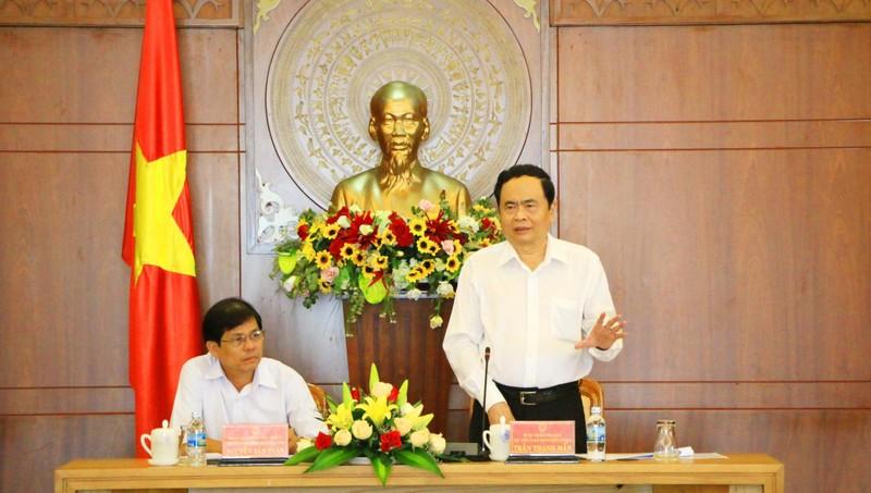 Chủ tịch UBTW MTTQ Việt Nam Trần Thanh Mẫn phát biểu tại buổi làm việc.