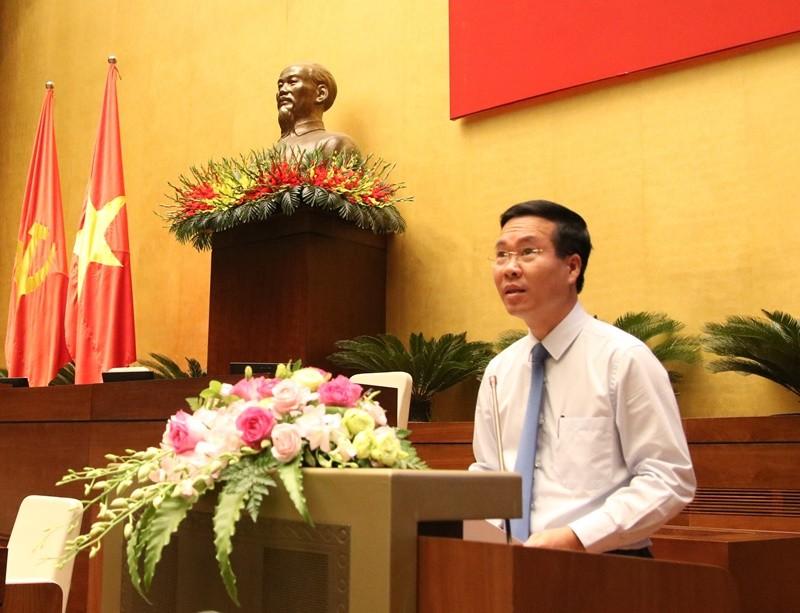 Trưởng Ban Tuyên giáo Trung ương Võ Văn Thưởng phát biểu tại hội nghị.