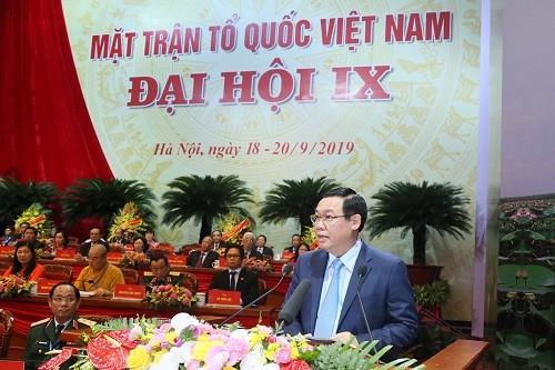 Phó Thủ tướng Vương Đình Huệ phát biểu tại Đại hội.