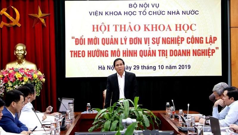 Thứ trưởng Bộ Nội vụ Triệu Văn Cường phát biểu khai mạc hội thảo.