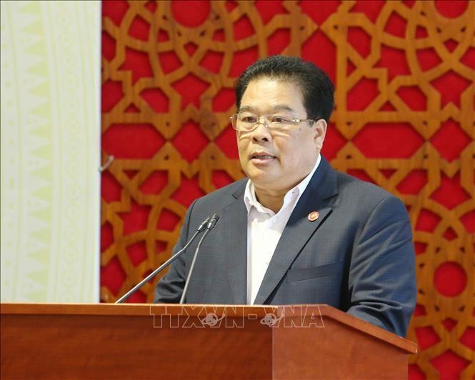 Bí thư Đảng ủy Khối các cơ quan Trung ương Sơn Minh Thắng phát biểu tại hội nghị.