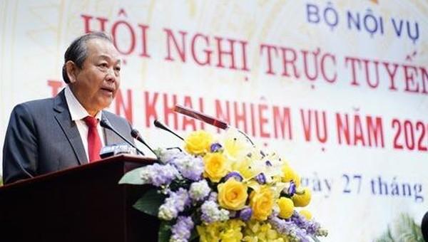 Phó Thủ tướng Thường trực Chính phủ Trương Hòa Bình phát biểu tại hội nghị.